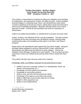 June 2015 Position Description – Northern Region Cache Supply Accounting Specialist