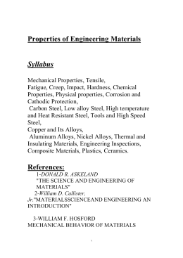 Properties of Engineering Materials  Syllabus