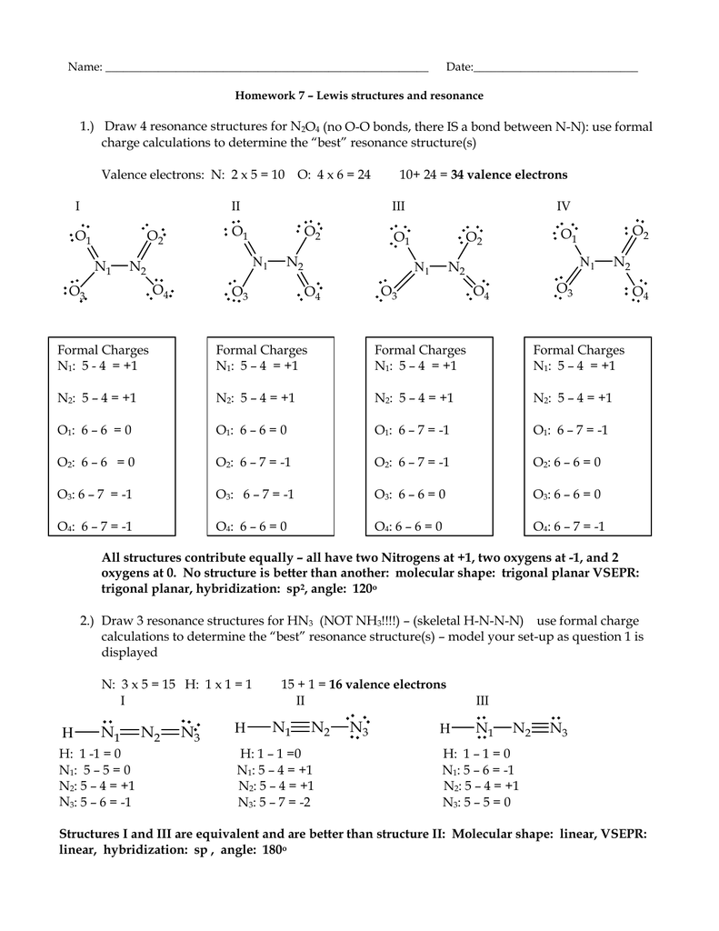 1.) Draw 4 resonance structures for N O