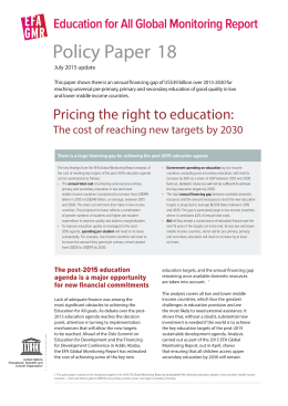 Policy Paper Education for All Global Monitoring Report