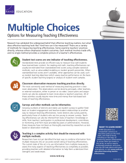 Multiple Choices Options for Measuring Teaching Effectiveness EDUCATION