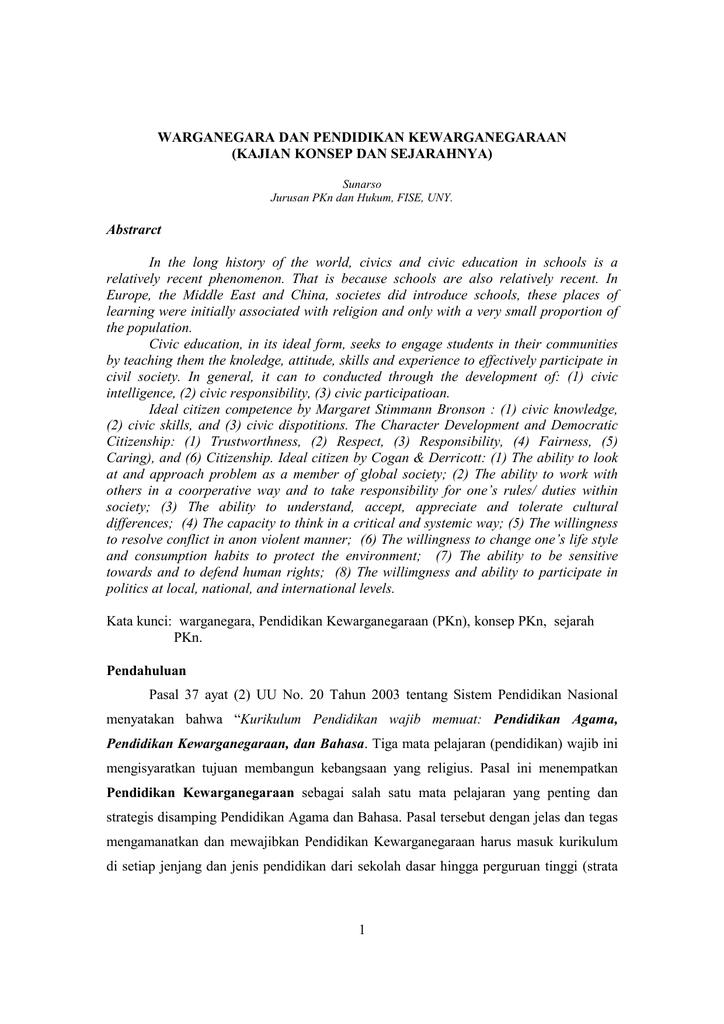 Warganegara Dan Pendidikan Kewarganegaraan Kajian Konsep Dan Sejarahnya Abstrarct