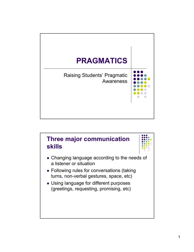 Pragmatics Three Major Communication Skills Raising Students Pragmatic