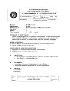YOGYAKARTA STATE UNIVERSITY FACULTY OF ENGINEERING TEACHING-LEARNING PLAN OF COST ESTIMATION
