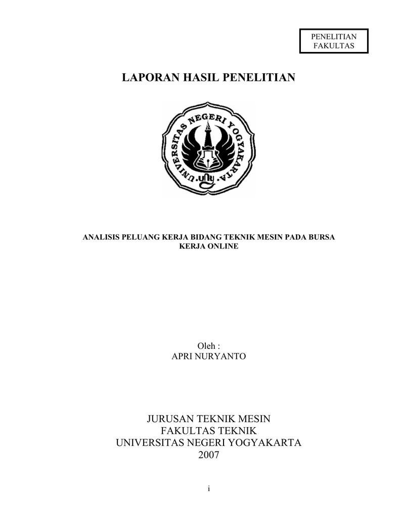 Laporan Hasil Penelitian Jurusan Teknik Mesin Fakultas Teknik Universitas Negeri Yogyakarta