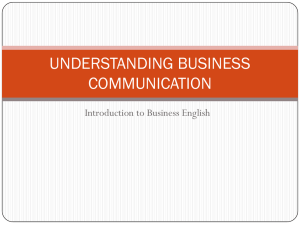 UNDERSTANDING BUSINESS COMMUNICATION Introduction to Business English