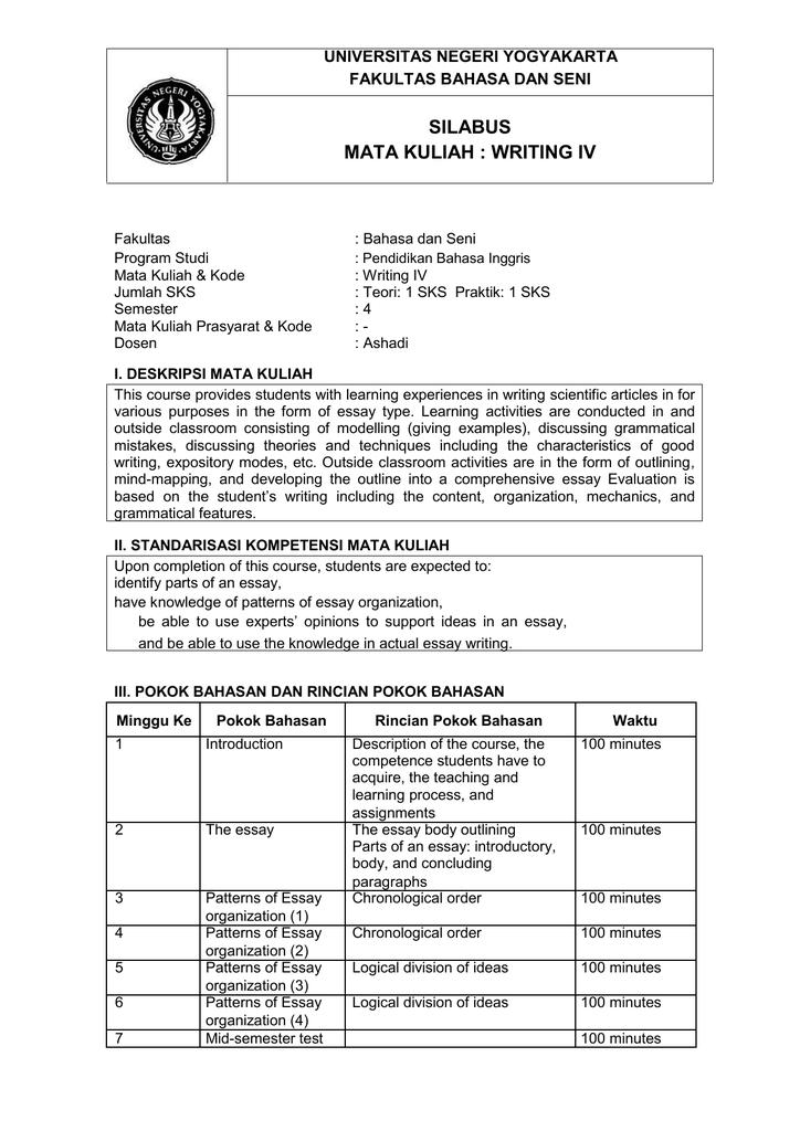 Silabus Mata Kuliah Writing Iv Universitas Negeri Yogyakarta
