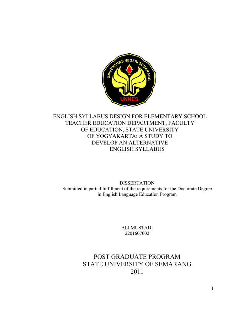 English Syllabus Design For Elementary School Teacher Education