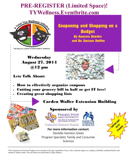 PRE-REGISTER (Limited Space)! TYWellness.Eventbrite.com Couponing and Shopping on a Budget