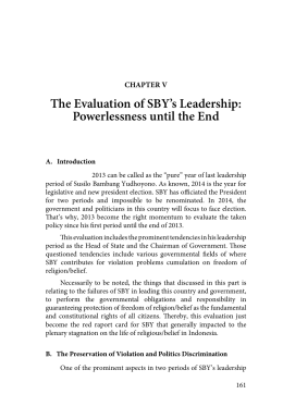 The Evaluation of SBY's Leadership: Powerlessness until the End CHAPTER V