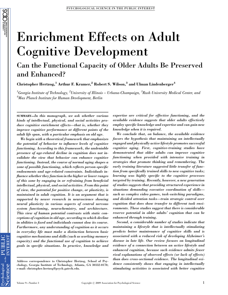 Enrichment Effects on Adult Cognitive Development and Enhanced?