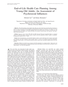 End-of-Life Health Care Planning Among Young-Old Adults: An Assessment of Psychosocial Influences