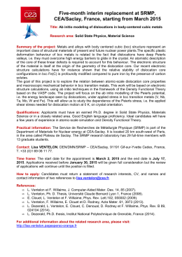 Five-month interim replacement at SRMP, CEA/Saclay, France, starting from March 2015