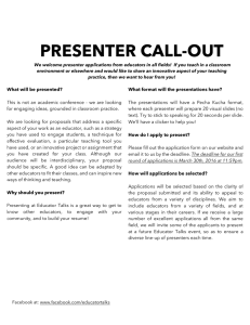 PRESENTER CALL-OUT