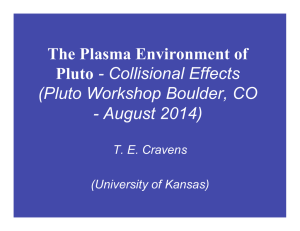 The Plasma Environment of Pluto (Pluto Workshop Boulder, CO - August 2014)