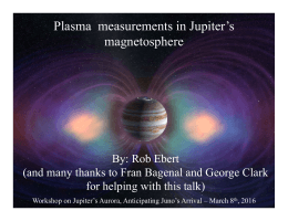 Plasma	Measurements	in Jupiter's	Magnetosphere  Plasma  measurements in Jupiter's