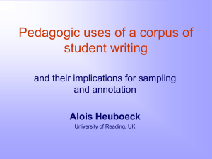 Pedagogic uses of a corpus of student writing and annotation