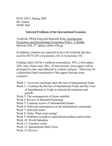 Selected Problems of the International Economy INTS 320-3: Spring 2007 Mr. Easton