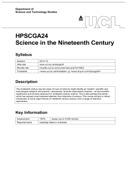 HPSCGA24 Science in the Nineteenth Century Syllabus Department of