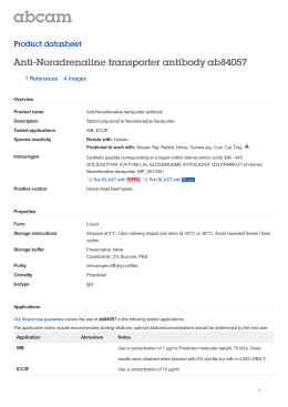 Anti-Noradrenaline transporter antibody ab84057 Product datasheet 1 References 4 Images
