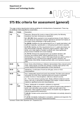 STS BSc criteria for assessment (general)  Department of  Science and Technology Studies