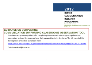 2012 GUIDANCE ON COMPLETING COMMUNICATION SUPPORTING CLASSROOMS OBSERVATION TOOL