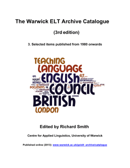 The Warwick ELT Archive Catalogue  (3rd edition)