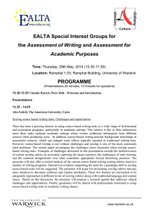 EALTA Special Interest Groups for Assessment of Writing PROGRAMME Academic Purposes