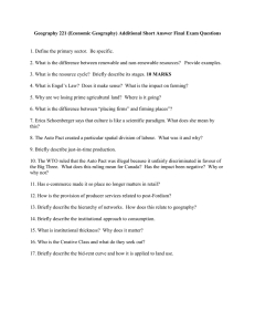 Geography 221 (Economic Geography) Additional Short Answer Final Exam Questions