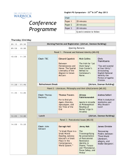 Conference Programme Thursday 23rd May