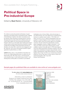 Political Space in Pre-industrial Europe Now available from Ashgate Publishing…