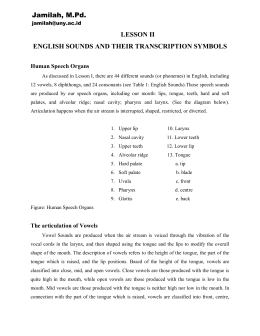 LESSON II ENGLISH SOUNDS AND THEIR TRANSCRIPTION SYMBOLS Jamilah, M.Pd. Human Speech Organs