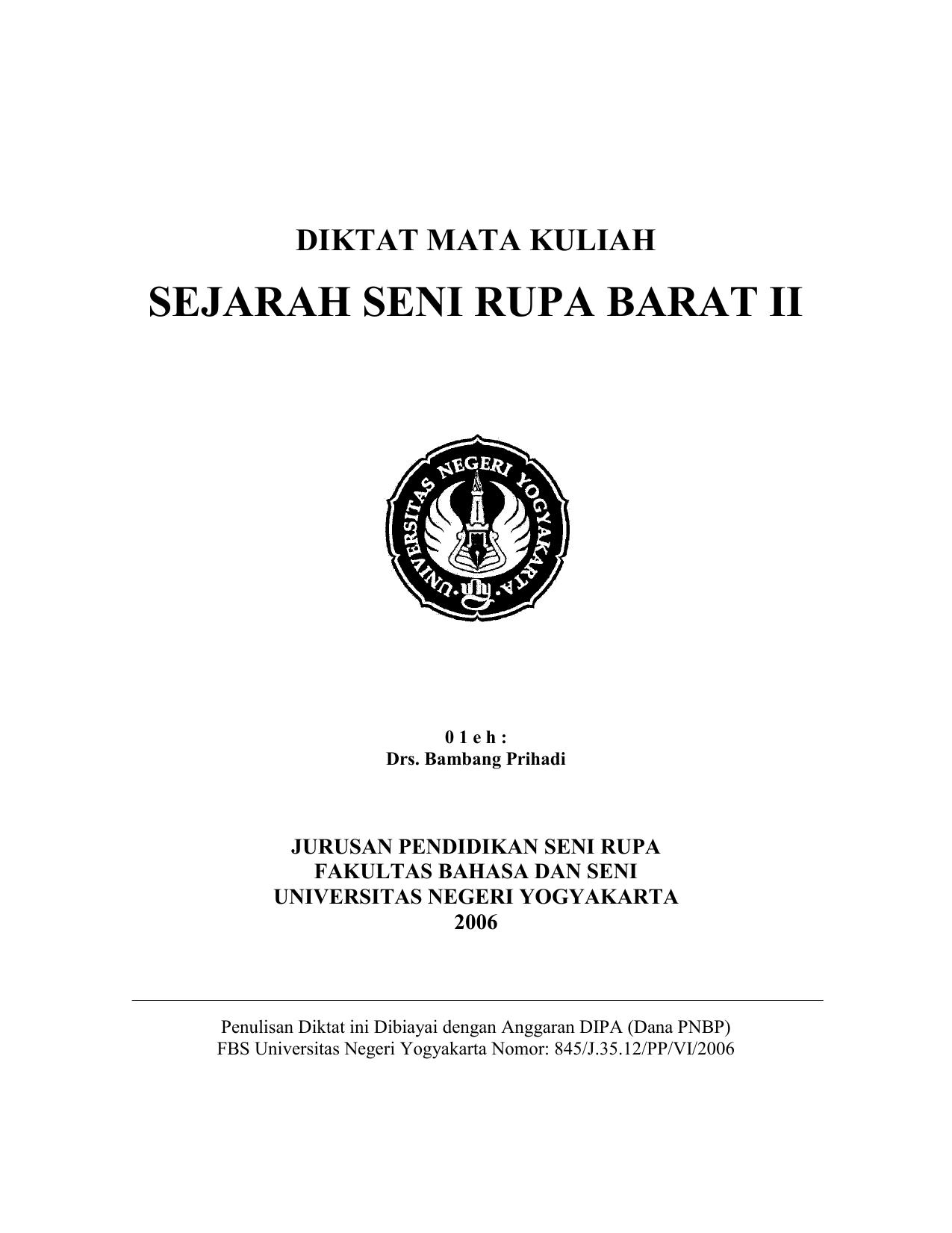 SEJARAH SENI RUPA BARAT II DIKTAT MATA KULIAH