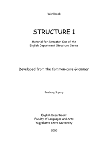STRUCTURE 1 Developed from the Common-core Grammar