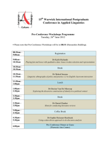 15 Warwick International Postgraduate Conference in Applied Linguistics
