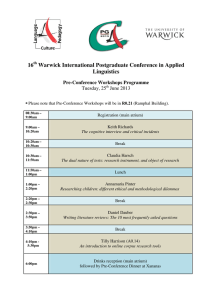 16 Warwick International Postgraduate Conference in Applied Linguistics