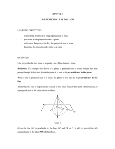 CHAPTER 4 LINE PERPENDICULAR TO PLANE  LEARNING OBJECTIVES