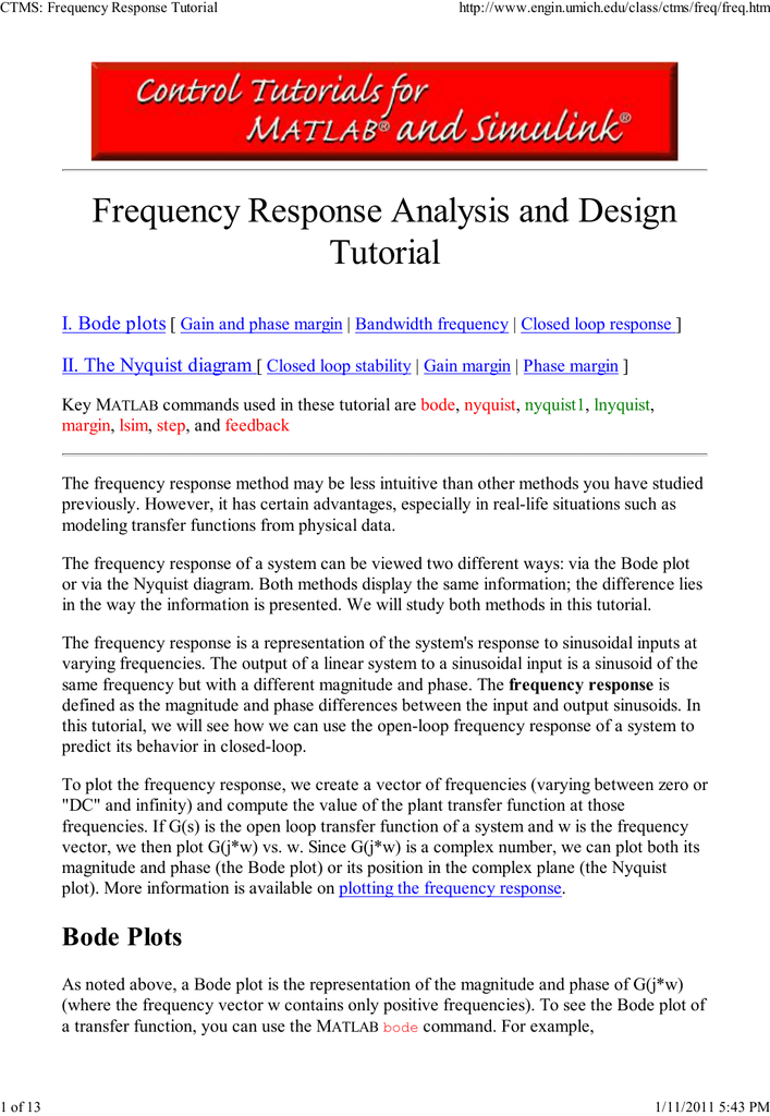 Frequency Response Analysis and Design Tutorial I  Bode plots II