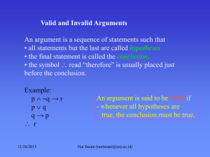 Valid and Invalid Arguments • the final statement is called the