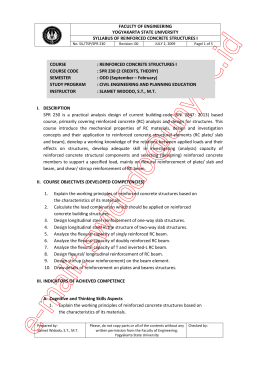 FACULTY OF ENGINEERING YOGYAKARTA STATE UNIVERSITY SYLLABUS OF REINFORCED CONCRETE STRUCTURES I
