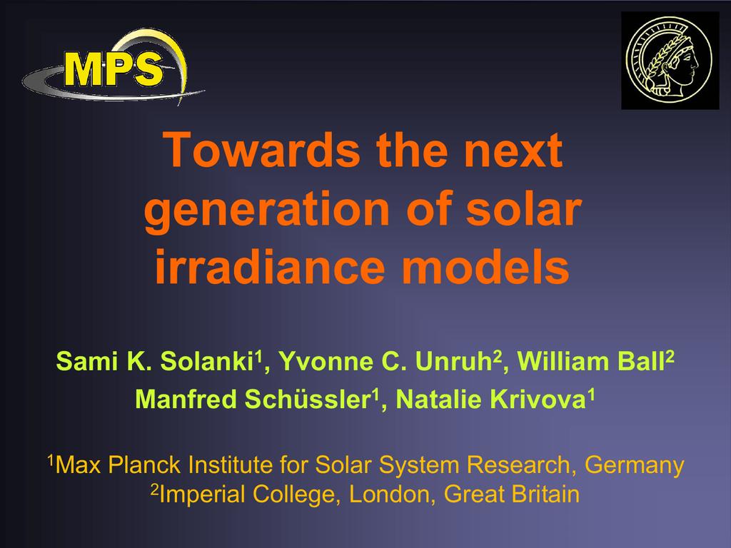 Towards the next generation of solar irradiance models Sami
