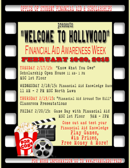 """WELCOME TO HOLLYWOOD"" Financial Aid Awareness Week presents"