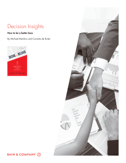 Decision Insights How to be a better boss