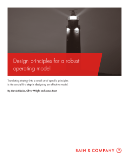 Design principles for a robust operating model