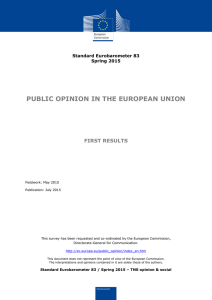 PUBLIC OPINION IN THE EUROPEAN UNION FIRST RESULTS Standard Eurobarometer 83 Spring 2015