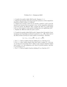 Problem Set 4 - Endogenous R&D