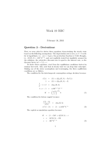 Week 19 RBC Question 2 - Derivations February 10, 2016
