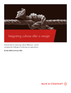 Integrating cultures after a merger