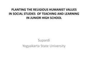 PLANTING THE RELIGIOUS HUMANIST VALUES IN JUNIOR HIGH SCHOOL