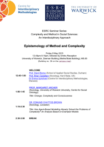 Epistemology of Method and Complexity  ESRC Seminar Series: